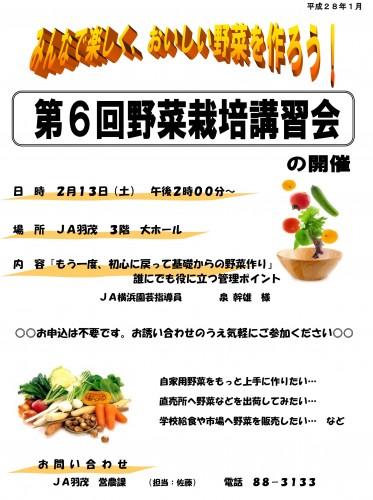 野菜栽培講習会案内(JA羽茂版)160213